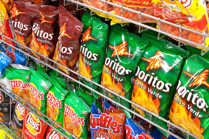 Hundreds of Frito Lay salty snacks to choose from.